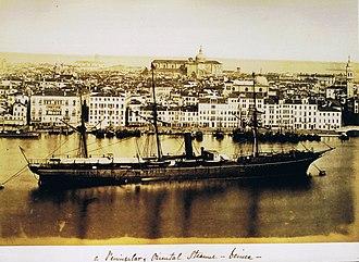 P&O (company) - Image: P & O steamer in Venice circa 1870, in album owned by W.F. de Salis, a director of the company