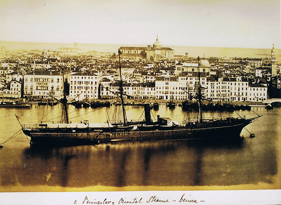 P & O steamer in Venice circa 1870, in album owned by W.F. de Salis, a director of the company