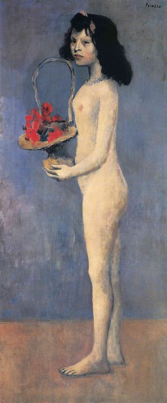 Young Girl with a Flower Basket - Pablo Picasso, 1905, Young Girl with a Flower Basket (Fillette nue au panier de fleurs, Le panier fleuri), oil on canvas, 155 x 66 cm, private collection, New York