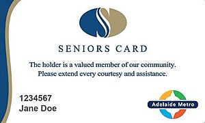 Australian Seniors Card - The front of a South Australian Seniors Card shown with Adelaide Metro access