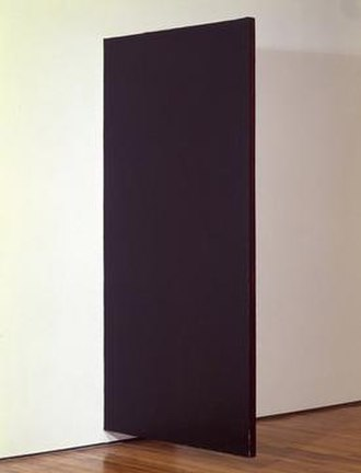"""Sharon Gold - UNTITLED, 1977, acrylic on canvas over wood, 96"""" x 48"""" x 2 1/4"""", installation view from OK Harris Gallery, 1977, New York City."""