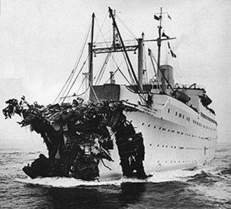 MV Astoria - 26 July 1956: After colliding with Andrea Doria, Stockholm with severely damaged prow, heads to New York.