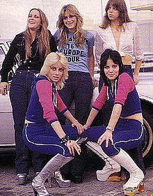 The Runaways in 1976 (clockwise from top left): Lita Ford, Sandy West, Jackie Fox, Joan Jett, Cherie Currie