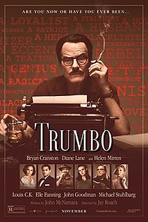 <i>Trumbo</i> (2015 film) 2015 film directed by Jay Roach