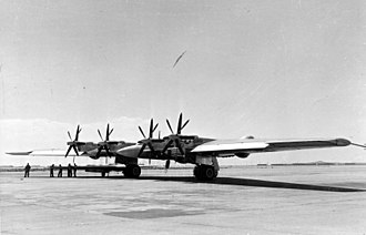 Northrop YB-35 - YB-35 Flying Wing showing its quartet of pusher contra-rotating propellers. The option was later discarded due to severe vibration in flight and later changed to traditional single rotating propeller