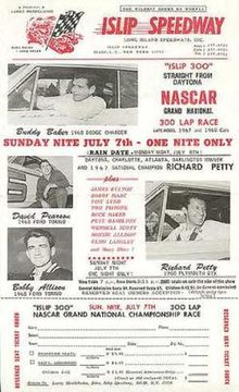 Official ticket form for the 1968 Islip 300