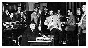 Arthur Godfrey - In this CBS publicity photo of Arthur Godfrey Time, vocalist Patti Clayton is seen at the far right and Godfrey sits in the foreground. Clayton, the original 1944 voice of Chiquita Banana, was married to Godfrey's director, Saul Ochs.