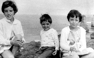 Beaumont children disappearance - Jane, Grant, and Arnna Beaumont, photographed during a family trip to the Twelve Apostles near Port Campbell, Victoria, Australia, in late 1965