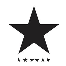 "A white background with a large black star and smaller parts of a five-pointed star that spell out ""BOWIE"""