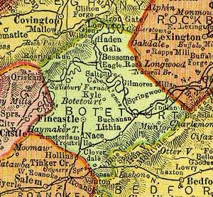 Botetourt County, Virginia - Botetourt County, Virginia, from 1895 state map