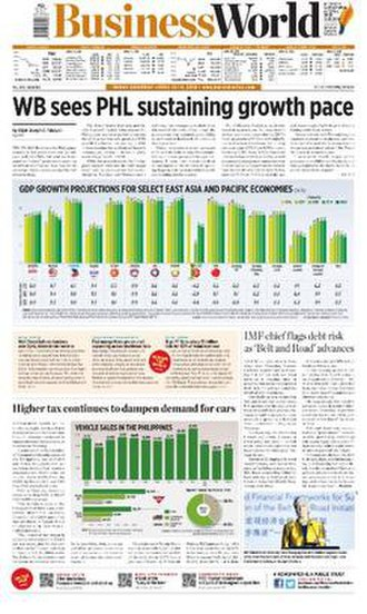 BusinessWorld - The front page of BusinessWorld on April 13, 2018