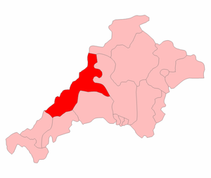 North Cornwall (UK Parliament constituency) - The North Cornwall constituency shown within Cornwall and Devon, 1918-1945