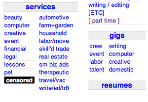 Craigslist - Craigslist website as it appeared on September 4, 2010, with black censored box in place of Adult Services