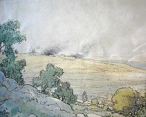 """John Macdonald Aiken - """"The shelling of Deir Ballut"""" by John MacDonald Aiken"""