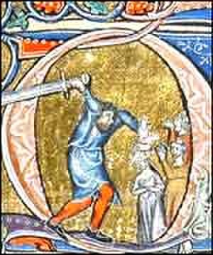 Macclesfield Psalter - This ornament shows Doeg the Edomite beheading the priests of Nob