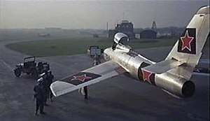 The Iron Petticoat - Captain Vinka Kovelenko's arrival in West Germany is via a MiG 15 fighter in reality a Republic F-84F Thunderstreak with Red Star insignia