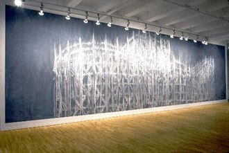 """Gary Simmons (artist) - """"Ghoster by Gary Simmons (1997). chalkboard paint, chalk and watercolor varnish on panels"""