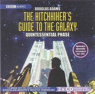 """The Hitchhiker's Guide to the Galaxy Tertiary to Quintessential Phases - Front cover of the BBC Audio release of the """"Quintessential Phase"""" (Fits 23-26) of The Hitchhiker's Guide to the Galaxy."""
