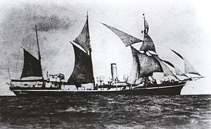HMS Shearwater under sail