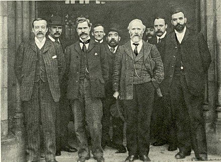 Macdonald (third from left) in 1906, with other leading figures in the party Labour Representation Committee leaders 1906.jpg