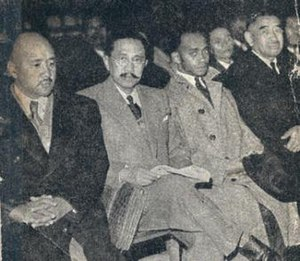 Malagasy Uprising - Trial of former deputies Ravoahangy, Raseta and Rabemananjara (far left to right)