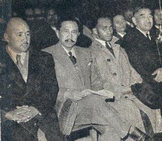 Malagasy Uprising - Trial of former deputies Ravoahangy, Raseta and Rabemananjara (far left to right)