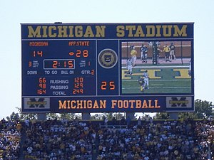 2007 Appalachian State vs. Michigan football game - The scoreboard near the end of the second quarter