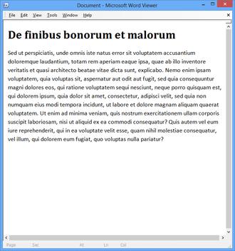 Microsoft Word Viewer - Image: Microsoft Word Viewer screenshot