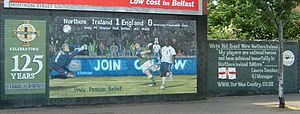 Northern Ireland national football team - The Our Wee Country mural in east Belfast commemorating Northern Ireland beating England at home in 2005.