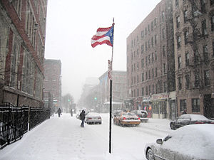 Puerto Rican Flag in East Harlem in New York City, outside of the Julia de Burgos Cultural Center, Winter 2005 (photo by Angelo Falcón)