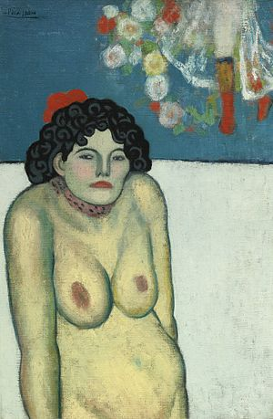 La Gommeuse - Pablo Picasso, La Gommeuse, 1901, oil on canvas,31 7/8 by 21 1/4 in (81.3 by 54 cm)