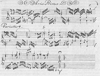 Johann Pachelbel - A page from the original printed edition of Hexachordum Apollinis, showing the fourth variation of the first aria