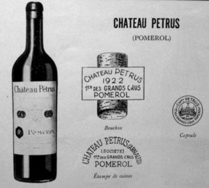 Pétrus (wine) - 1931 presentation card with the designs of the early 20th century, the label, cork, case and capsule markings.