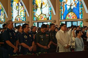Military Ordinariate of the Philippines - President Gloria Macapagal-Arroyo (far right, in powder blue) and the military top brass at the consecration service of the Ordinariate's Shrine of St Thérèse, Doctor of the Church.