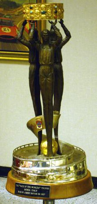 Jimmy Bryan - The trophy awarded to Jimmy Bryan for winning the 1957 running of the Race of Two Worlds on display at Indianapolis Motor Speedway Hall of Fame Museum