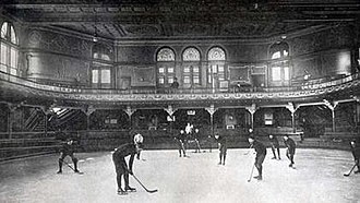 Schenley Park Casino -  Interior of the Casino, the first hockey team in 1895. This is the earliest known image of ice hockey in Pittsburgh