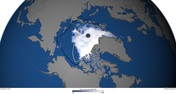 A map that shows ice concentration on 16 September 2012, along with the extent of the previous record low (yellow line) and the mid-September median extent (black line) setting a new record low that was 18 percent smaller than the previous record and nearly 50 percent smaller than the long-term (1979-2000) average. SeaIce-Sept162012 HR.jpg