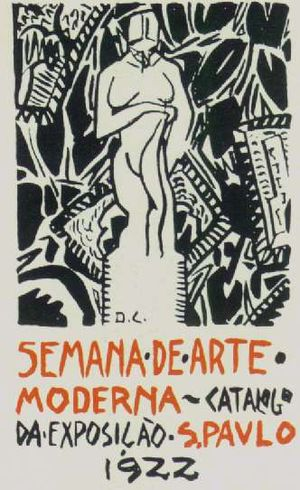 Mário de Andrade - Di Cavalcanti's cover of an exhibition catalog from the Semana de Arte Moderna, 1922