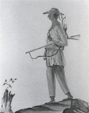 Continental Army - 1778 drawing showing a Stockbridge Mahican Indian, Patriot soldier, of the Stockbridge Militia, in Stockbridge, Massachusetts, from the Revolutionary War diary of Hessian officer, Johann Von Ewald