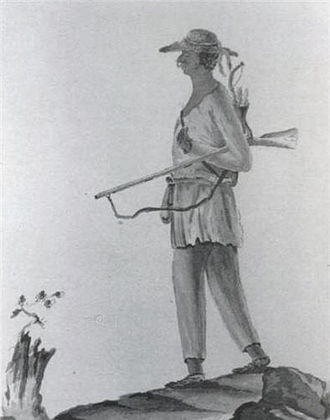 Mahican - Von Ewald sketch of a Stockbridge Militia Mahican warrior who fought on the Patriot side in the Continental Army during the American Revolutionary War