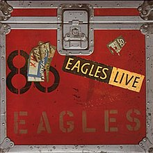 The album cover has a trunk for Eagles' touring gear on it