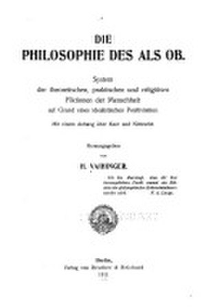 The Philosophy of 'As if' - Title page of the German edition