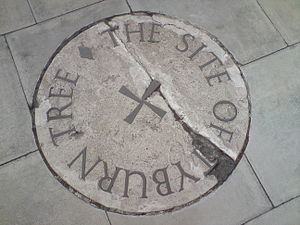 Tyburn - Stone marking the site of the Tyburn tree on the traffic island at the junction of Edgware Road, Bayswater Road and Oxford Street