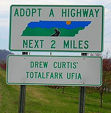 This is an image of the Adopt-a-Highway sign that was erected in Tennessee in April 2006 to highlight the UFIA (Unsolicited Finger In Anus) cliché