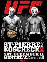 A poster or logo for UFC 124: St-Pierre vs. Koscheck 2.