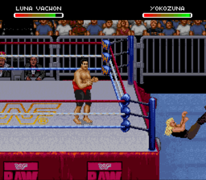 WWF Raw (1994 video game) - Luna Vachon takes on Yokozuna in an intergender match (Super NES version).