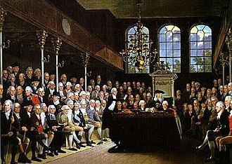 Unreformed House of Commons - Karl Anton Hickel's painting of William Pitt the Younger addressing the House of Commons on the outbreak of war with France (1793)