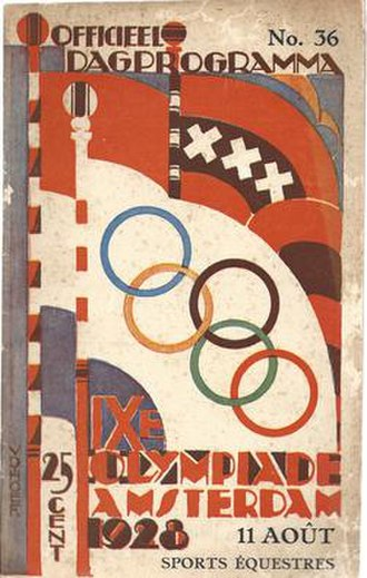 Flag of Amsterdam - Cover of the 1928 Amsterdam Summer Olympics day program depicting a modern day flag of Amsterdam