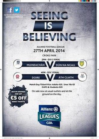 2014 National Football League (Ireland) - Image: 2014 National Football League (Ireland) Finals poster