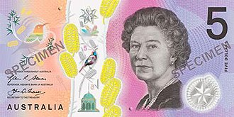 Australian dollar - The $5 Australian note, as of 1 September 2016.